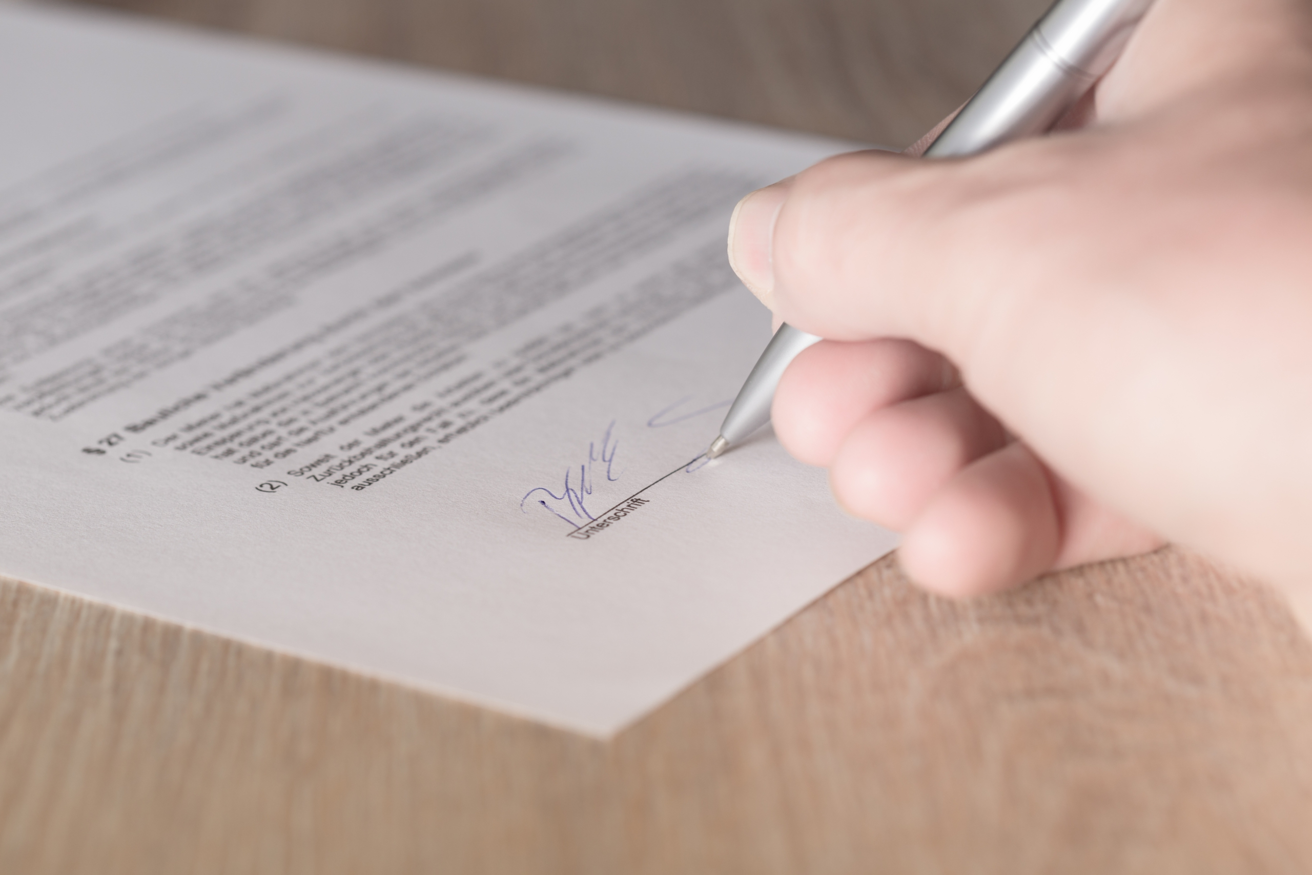 Contract abschließen